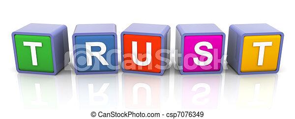 3d colorful text 'trust' - csp7076349