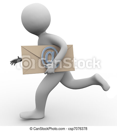 3d man with email envelope - csp7076378