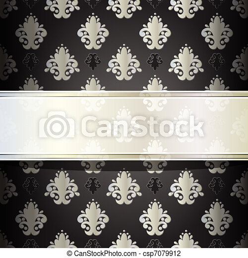 vector seamless damask wallpaper with place for your text - csp7079912