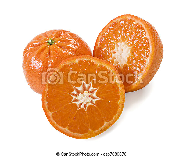 Fresh healthy mandarin citrus fruit on white background - csp7080676