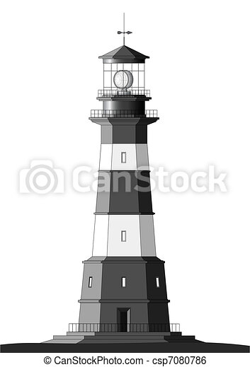 Detailed Lighthouse - isolated on white - csp7080786