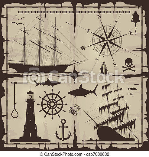 Set of nautical design elements - csp7080832