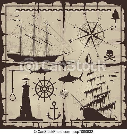 Set of nautical design elements - csp7080832