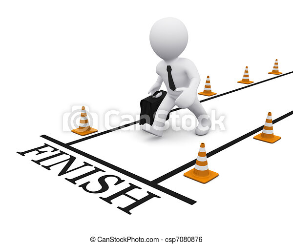 Stock Illustration of 3D man on the finish line - 3D man running ...