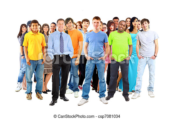 Casual group of excited friends with arms up isolated on white  - csp7081034