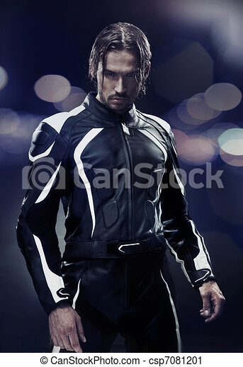 Stylish man wearing motorbike uniform - csp7081201