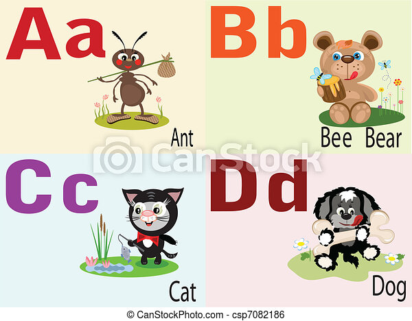 Animal alphabet A, B, C, D. - csp7082186
