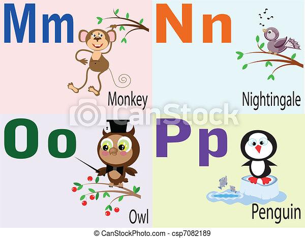 Animal alphabet M, N, O, P. - csp7082189