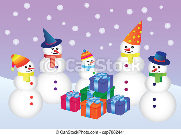 five snowmen with presents - csp7082441