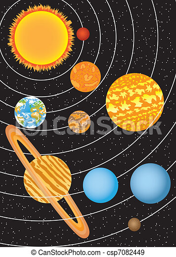 EPS Vectors of Solar system - Nine planets moving around ...