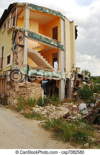 The rubble of the earthquake in Abruzzo - csp7082580
