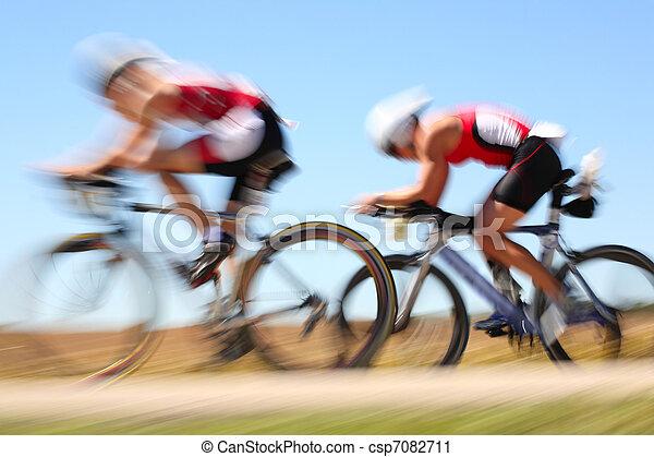 Racing bicycle, motion blur - csp7082711