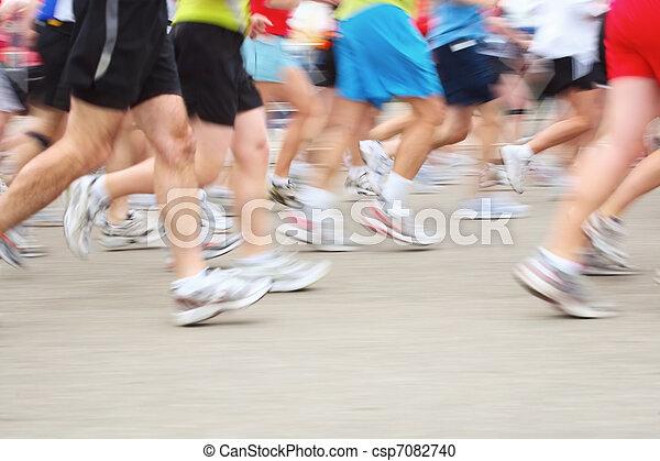 Marathon (in camera motion blur) - csp7082740