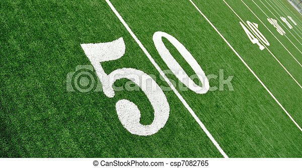 View From Above of Fifty Yard Line on American Football Field - csp7082765