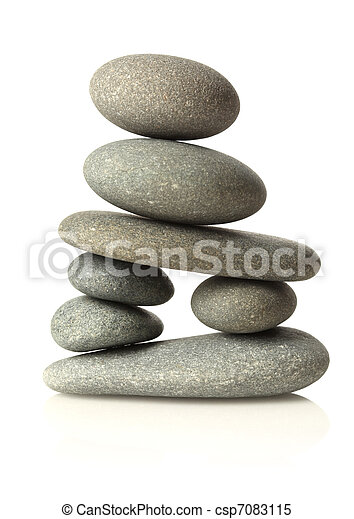 Stacked stones isolated on white - csp7083115