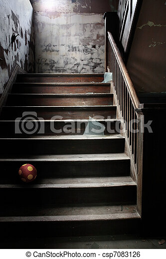 Old abandoned stairs with broken glass and a ball - csp7083126