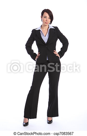 Beautiful curvy young business woman in black suit - csp7083567