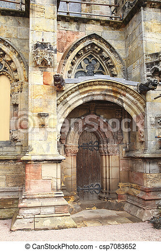 Rosslyn chapel side entrance - csp7083652