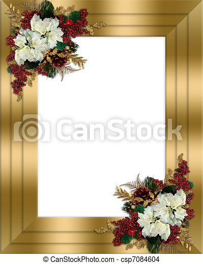 Drawing Of Christmas Border Gold Floral Image And