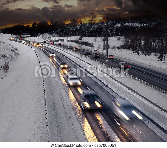 Winter evening traffic - csp7085051