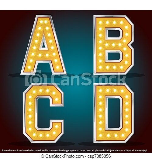 Gold color silver stroke with lamps alphabet - csp7085056