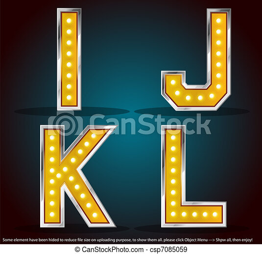 Gold color silver stroke with lamps alphabet - csp7085059