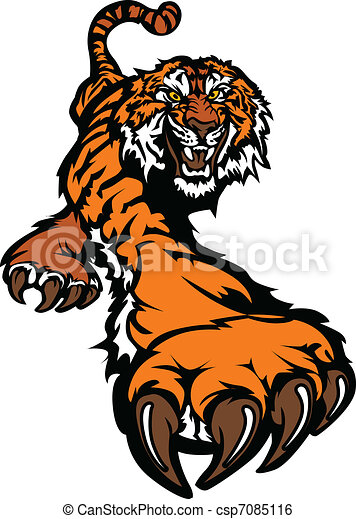 Tiger Mascot Body Prowling Graphic - csp7085116