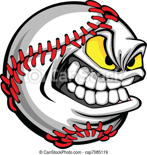 Baseball Face Cartoon Ball Image - csp7085119