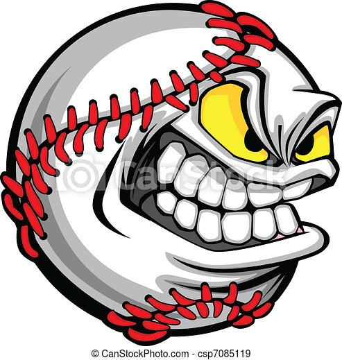 Baseball Face Cartoon Ball Image - csp7085119
