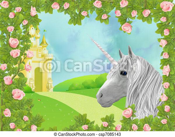 Unicorn in roses - csp7085143