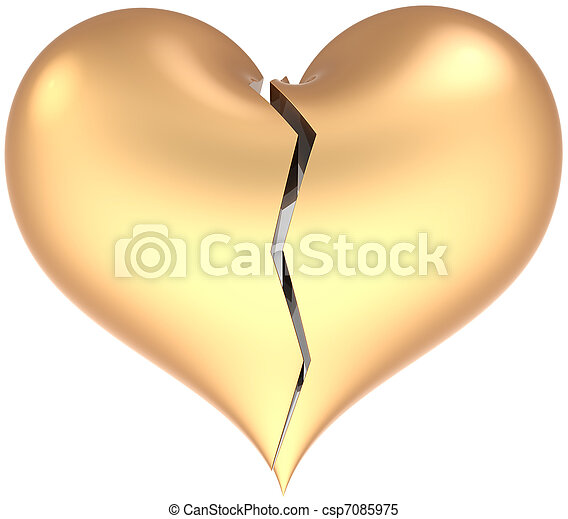 Broken golden heart shape classic - csp7085975