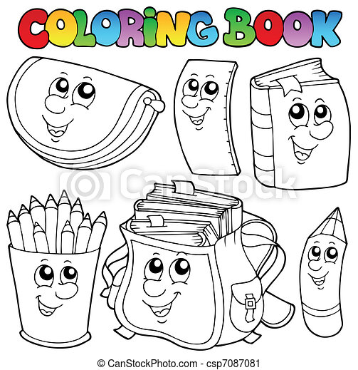 Coloring book school cartoons 1 - csp7087081
