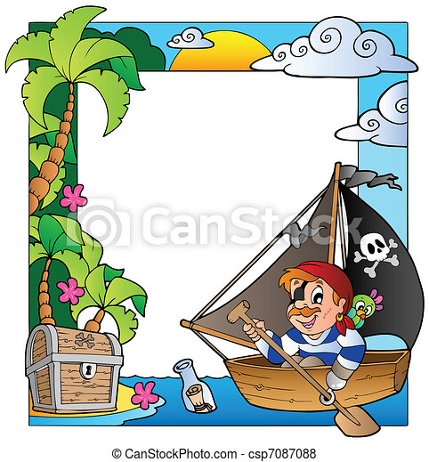 Frame with sea and pirate theme 5 - csp7087088