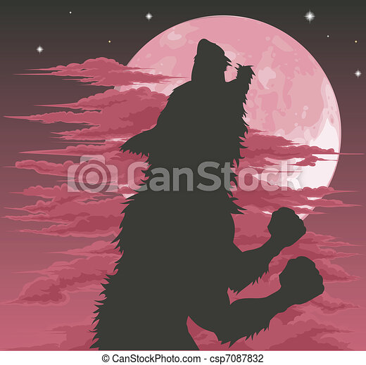Werewolf silhouette howling at moon - csp7087832
