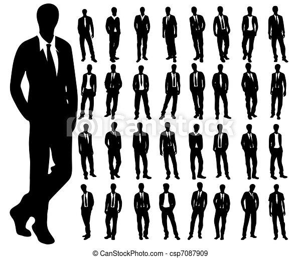 Silhouettes of man - csp7087909
