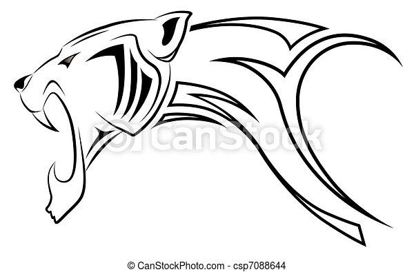 Vector leopard, tribal tattoo - csp7088644