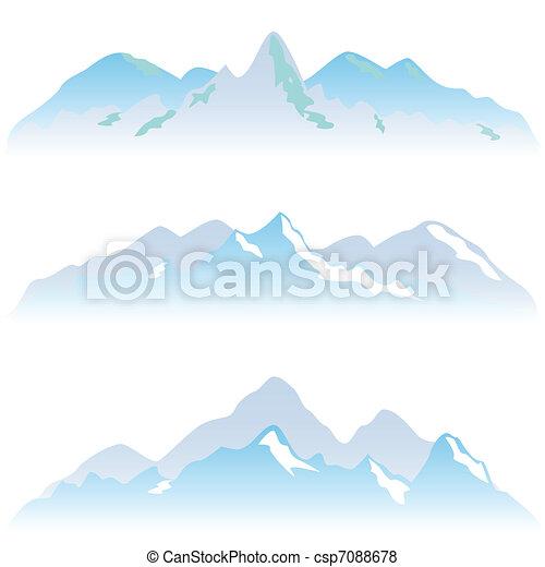 Snowy mountain peaks - csp7088678