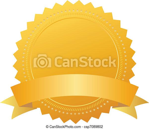 Award seal with ribbon - csp7089802