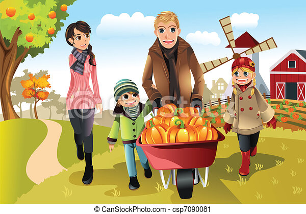 Family doing pumpkin patch - csp7090081