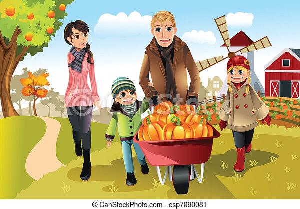 Family doing pumpkin patch - csp7090081