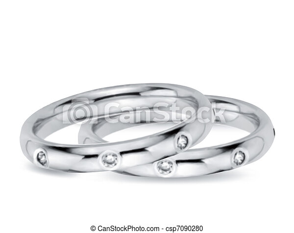 Two Wedding Diamond Rings. Vector illustration - csp7090280