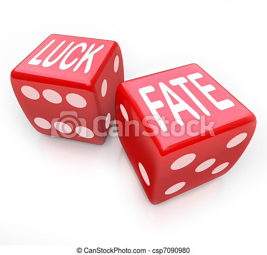 Luck and Fate - Two Red Dice Gambling Your Future - csp7090980