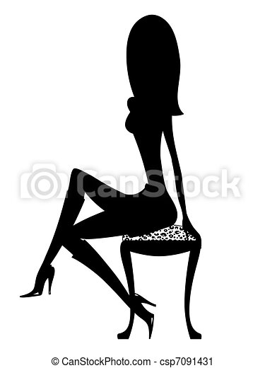 Sexy Silhouette Girl in Boots - csp7091431