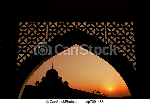 silhouette of arabic architecture - csp7091488