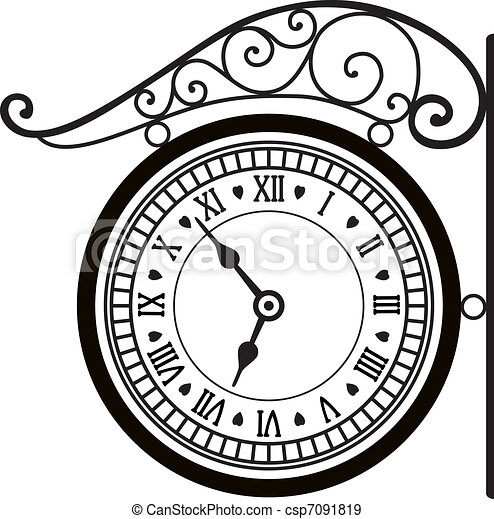 vector retro street clock - csp7091819