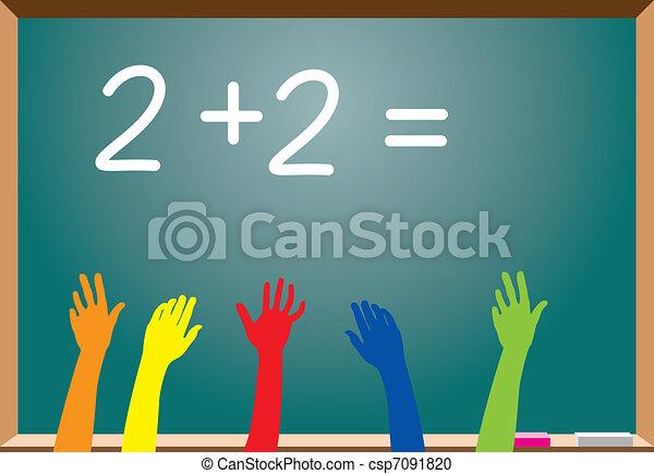 elementary school students raising hands - csp7091820