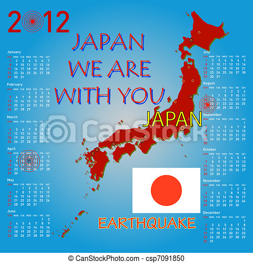 Calendar Japan map with danger on an atomic power station for 2012. Week starts on Sunday. - csp7091850