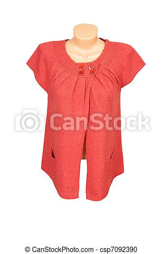 Elegant  red  tunic on a white. - csp7092390