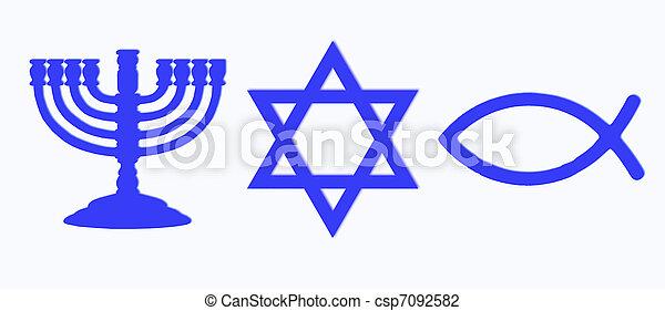 Stock Photo of Menorah, Star of David and fish in blue color ...