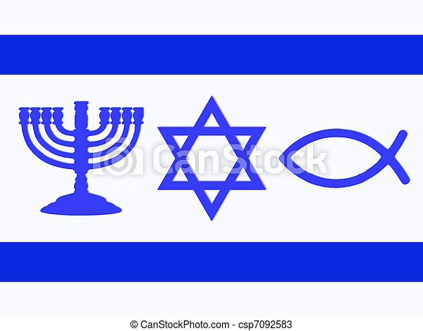 Stock Photos of Flag of Israel - Menorah, Star of David, fish and ...